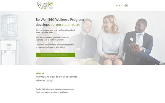 Be Well 360 Program website homepage top fold