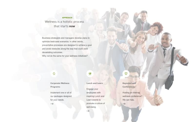 Be Well 360 Program homepage services fold
