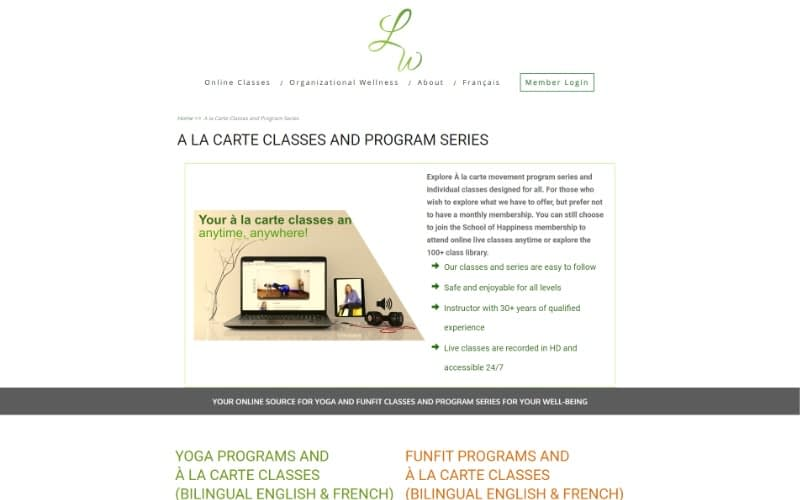 School of Happiness Online A la Carte page