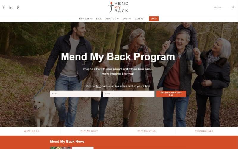 Mend My Back Program homepage top fold