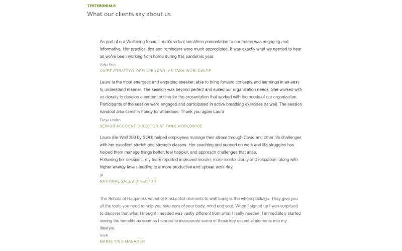 Be Well 360 Program homepage testimonials
