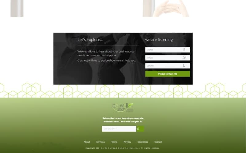 Be Well 360 Program homepage footer
