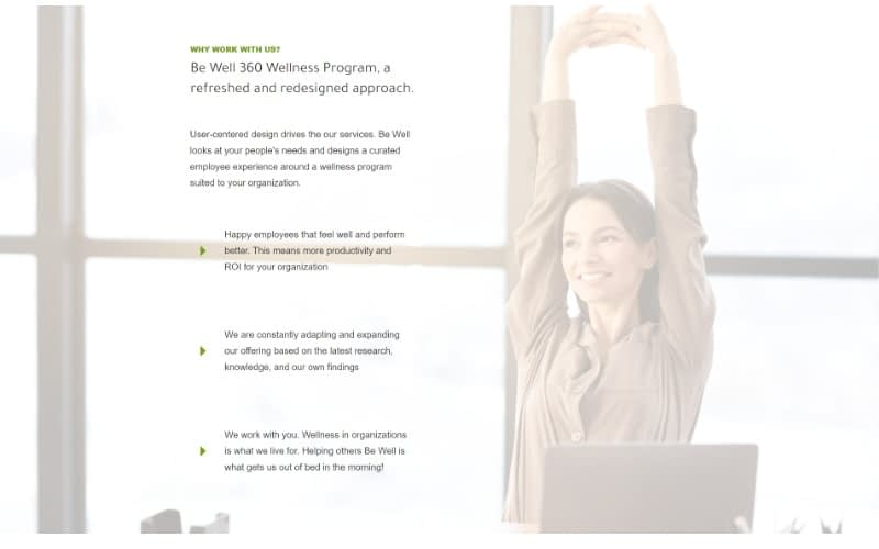 Be Well 360 Program homepage program and services benefits