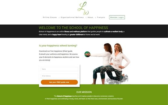 School of Happiness homepage top fold