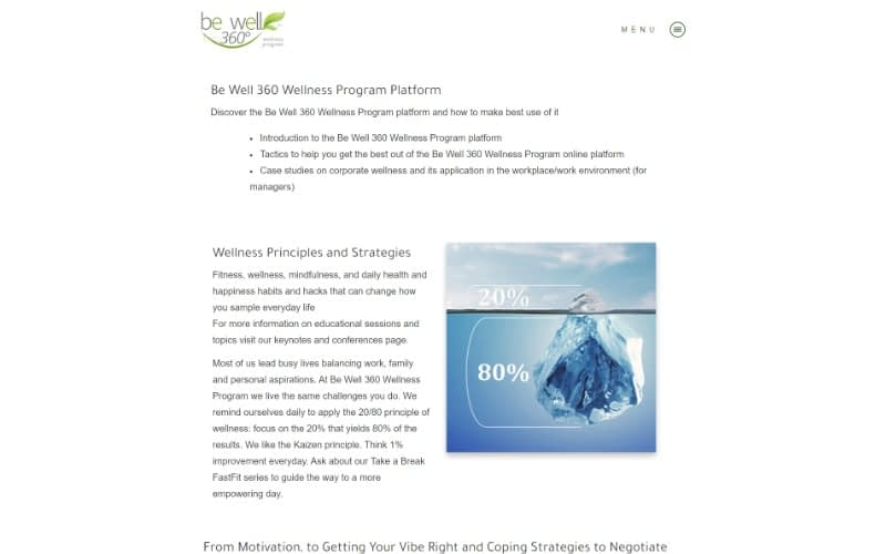 Be Well 360 Program Services overview with image