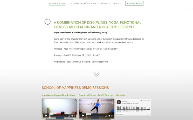School of Happiness Online Classes page